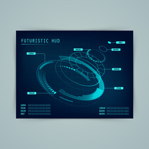 Futuristic Head Up Display Interface layout, Creative statistical infographic elements.