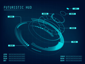 Futuristic HUD Interface layout, Creative statistical infographic elements, Abstract virtual graphic touch user interface design, Blue technology vector background for Business.