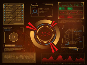 Futuristic user interface HUD UI, UX design, Big set of infographic elements, Abstract virtual technology background with statistical bars, graphs, charts and video log, Business vector illustration.