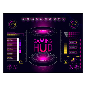 Gaming Head Up Interface layout, Futuristic User Interface and Statistical Infographic element set.