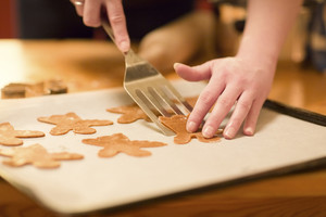 Girl make ginger bread for Christmas. Natural Colors. Real life.