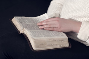Girl reading the holy bible at home. Sitting in sofa.