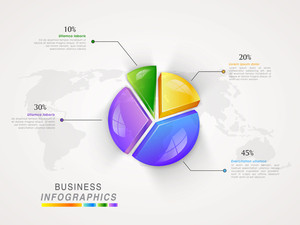 Glossy colorful pie chart infographic for professional data and Business reports presentation.