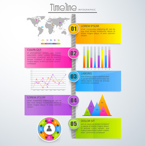 Glossy colorful Timeline Infographic template layout with colorful statistical graphs, chart, bar and world map.