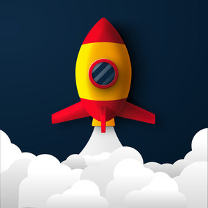 Glossy Rocket flying above clouds, Creative template, banner or flyer design for Business Start Up concept.