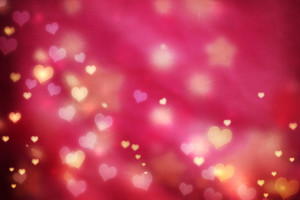 Golden small hearts on pink magenta background with stars