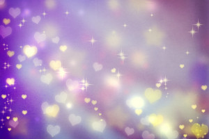 Golden small hearts on purple background with stars