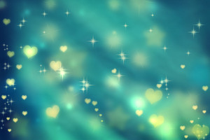 Golden small hearts on teal background with stars