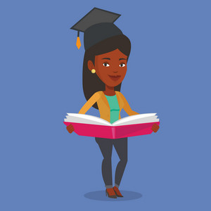 Graduate standing with a big open book in hands. African-american student in graduation cap reading a book. Student holding a book. Concept of education. Vector flat design illustration. Square layout