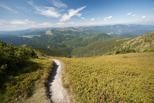 Grand mountains landscape under sky. Donovaly, Slovakia, Europe.