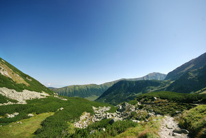 Grand mountains landscape under sky. Zuberec, Slovakia, Europe.