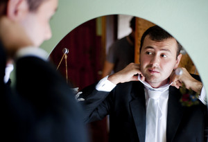 Groom is getting ready for the wedding