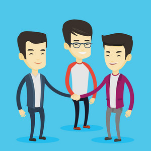 Group of business people joining hands. Asian business people putting their hands togethis. Business men stacking their hands. Partnership concept. Vector flat design illustration. Square layout.