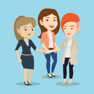 Group of business women joining hands. Caucasian business people putting their hands together. Business women stacking their hands. Partnership concept. Vector flat design illustration. Square layout.