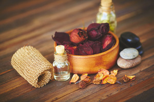 Group of objects for aromatic oil massage