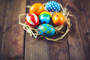 Group of ornate Easter eggs