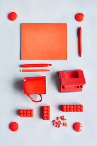 Group of red office supplies