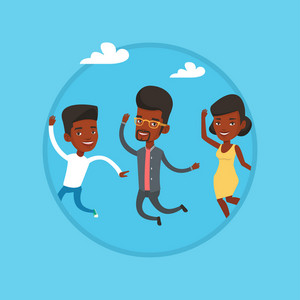 Group of young african-american friends jumping. Group of cheerful friends having fun and jumping outdoors. Friendship concept. Vector flat design illustration in the circle isolated on background.