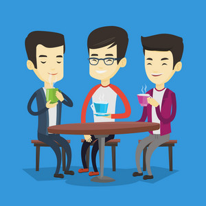 Group of young asian friends drinking hot and alcoholic drinks. Three smiling friends hanging out together in a cafe. Friends relaxing in a cafe. Vector flat design illustration. Square layout.