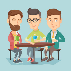 Group of young caucasian friends drinking hot and alcoholic drinks. Three smiling friends hanging out together in a cafe. Friends relaxing in a cafe. Vector flat design illustration. Square layout.