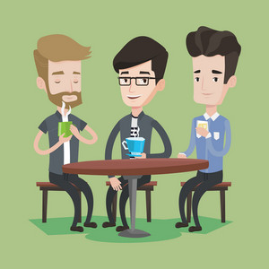 Group of young caucasian men drinking hot and alcoholic drinks. Three smiling friends hanging out together in a cafe. Relaxation and friendship concept. Vector flat design illustration. Square layout.