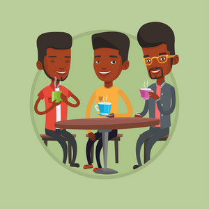 Group of young friends drinking hot and alcoholic drinks in cafe. Three friends hanging out together in a cafe. Friendship concept. Vector flat design illustration in the circle isolated on background