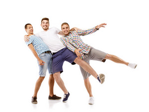 Group of young men isolated on white background. Best friends