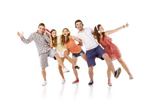 Group of young people listening to the music, isolated on white background.