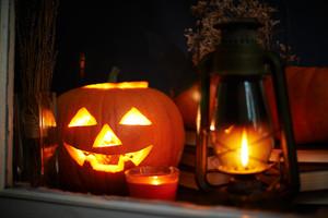 Halloween still life behind the window