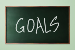 Hand drawn Goals, business concept on green chalkboard