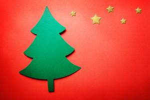 Handmade paper craft Christmas tree with small stars