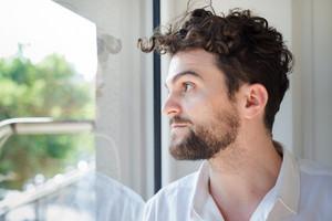 handsome hipster modern man at home