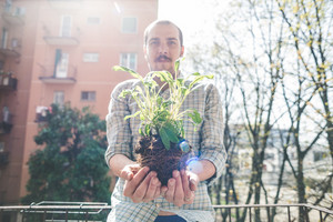 handsome stylish man holding basil plant at home