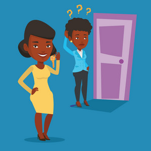 Happy african-american business woman showing key on the background of young woman looking at door. Concept of making the right decision in business. Vector flat design illustration. Square layout.