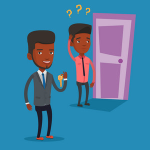 Happy african-american businessman showing key on the background of young man looking at door. Concept of making the right decision in business. Vector flat design illustration. Square layout.