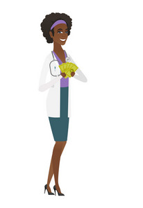 Happy african-american doctor in medical gown holding money. Excited doctor standing with money in hands. Full length of doctor with money. Vector flat design illustration isolated on white background