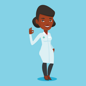 Happy african-american doctor in medical gown showing ok sign. Smiling doctor gesturing ok sign. Young female doctor with ok sign gesture. Vector flat design illustration. Square layout.