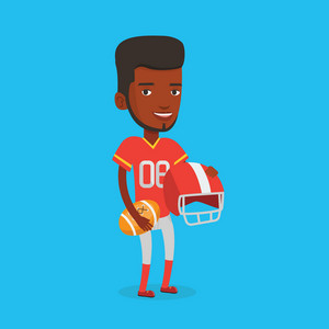Happy african-american rugby player holding ball and helmet in hands. Full length of young smiling male rugby player in uniform. Vector flat design illustration. Square layout.