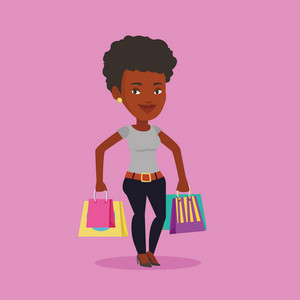 Happy african-american woman carrying shopping bags. Young smiling woman holding shopping bags. Woman standing with a lot of shopping bags. Vector flat design illustration. Square layout.