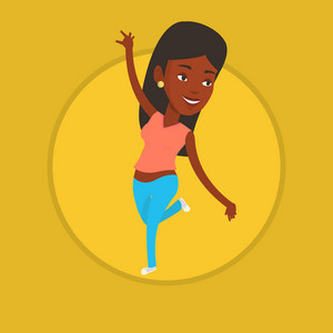Happy african-american woman dancing. Cheerful female dancer with arm raised in motion. Smiling woman during dance workout. Vector flat design illustration in the circle isolated on background.