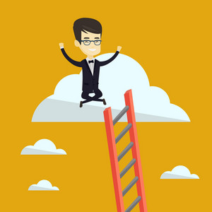 Happy asian business man sitting on a cloud with ledder. Successful business man relaxing on a cloud. Cheerful business man with rised hands on a cloud. Vector flat design illustration. Square layout.
