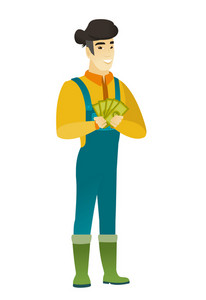 Happy asian farmer in coveralls holding money. Excited farmer standing with money in hands. Full length of smiling farmer with money. Vector flat design illustration isolated on white background.