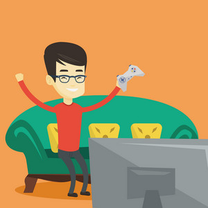 Happy asian gamer playing video game. An excited young man with console in hands playing video game at home. Man celebrating his victory in video game. Vector flat design illustration. Square layout.