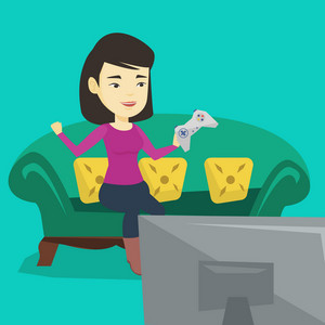 Happy asian gamer playing video game. Excited young woman with console in hands playing video game at home. Woman celebrating her victory in video game. Vector flat design illustration. Square layout.