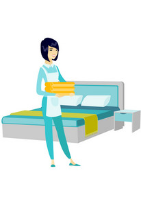Happy asian housekeeping maid with stack of linen. Full length of young housekeeping maid making bed in a hotel room. Hotel room service. Vector flat design illustration isolated on white background.