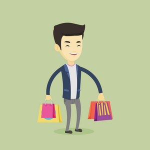 Happy asian man carrying shopping bags. Young smiling man holding shopping bags. Man standing with a lot of shopping bags. Vector flat design illustration. Square layout.