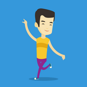 Happy asian man dancing. Cheerful man dancer with arm raised in motion. Smiling man during dance workout. Young sporty guy doing dance moves. Vector flat design illustration. Square layout.