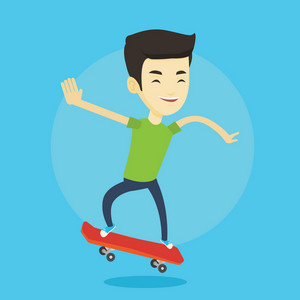 Happy asian man skateboarding. Smiling man riding a skateboard. Young skater riding a skateboard. Man jumping with skateboard. Vector flat design illustration. Square layout.