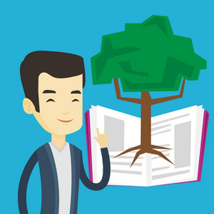 Happy asian student standing on the background of tree growing from open book. Cheerful student pointing at tree of knowledge. Concept of education. Vector flat design illustration. Square layout.