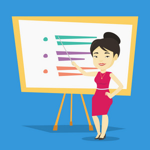 Happy asian teacher standing in front of board with a pointer. Smiling female teacher standing with a pointer in classroom. Young teacher with pointer. Vector flat design illustration. Square layout.